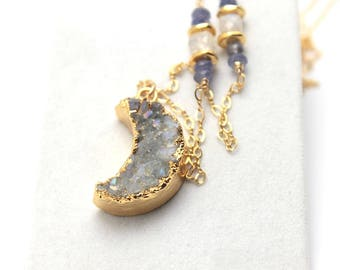 Druzy Moon Necklace Natural Quartz Moonstone Gold Leafed Iridescent Purple Drusy Agate Nature Gemstone 14K Gold Filled Amethyst Tanzanite