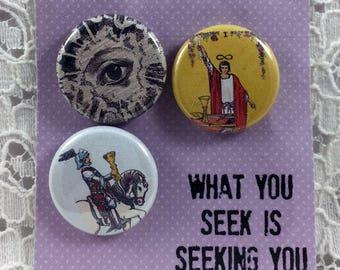 Tarot Card Pins-Knight of Cups Pins-The Magician Pins-Seekers Eye Pins-Tarot Card Reader Pins- Rider Waite Pins-Tarot Buttons