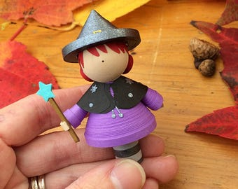 Cute little witch figurine made from quilled paper, miniature figurine, halloween decorations, handmade gift, gift for her, october decor