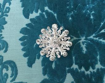 Silver Rhinestone Brooch.Silver Crystal Brooch.Silver Rhinestone Pin.Broach.Vintage Style.Victorian Style.Edwardian Style.Gatsby Style