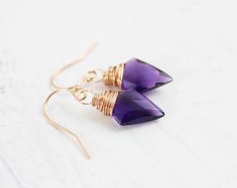 Purple Rose Gold Earrings, Arrowhead Earrings, Dark Violet Earrings, Quartz Gemstone Earrings, Wire Wrap Earrings, Rose Gold Dangle Earrings