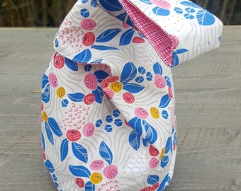 Japanese Knot Bucket Bag - Small Project Bag - Blue/Red Stylized Rose