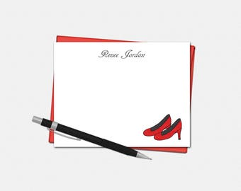 Personalized Red High Heels Note Cards - Set of 10 - Flat Note Cards - Gifts for Women - Stationery for Her - Red High Heels Stationery