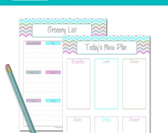PRINTABLE Menu Planner - DIY Daily Meal Plan and Grocery List | Pastel Chevron | 1 Day Menu Planner