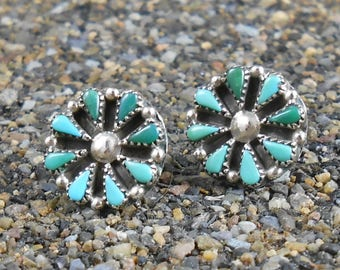 Turquoise Sterling Earrings Zuni  Post Style Pettipoint Cluster Needlepoint