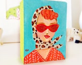 Retro Gal ORIGINAL miniature portrait painting Redhead with leopard scarf Cute small art by Tascha