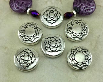 5 TierraCast Puffed Lotus Beads - Zen Doodle Spiral Round Coin Ornate - Silver Plated Lead Free Pewter - I ship internationally 5823