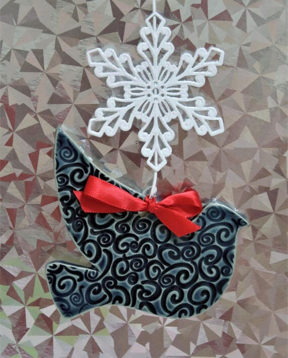 Dove Ornament - Handcrafted - Stoneware - Christmas Ornament - Holiday Decor - Package Decoration - Peace - Bird - Red - Green - Blue
