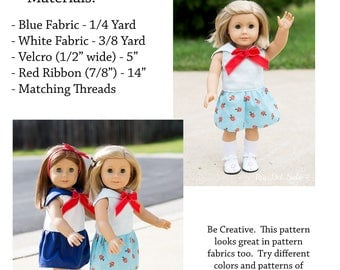 18 inch Doll Clothes PDF Sewing Pattern - Sailormoon Inspired Sailor Dress for American Girl Dolls