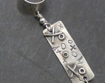 Handcrafted Dangle Sterling Ear Cuff - GRAFFITI LOVE -  Silver Ear Band 925 Wrap OOAK One of a Kind