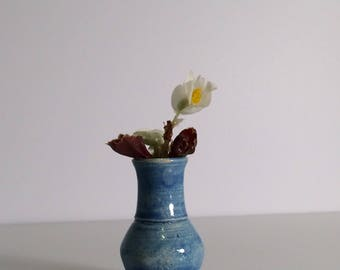 Miniature Pottery Vase - Hand Thrown - Tiny Vase - Blue Vase