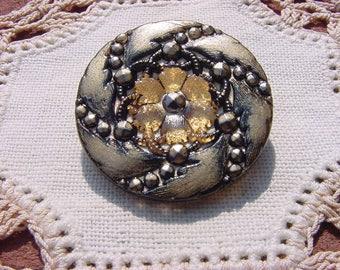 Antiqued Golden Stardust Floral Pinwheel Czech Glass Button
