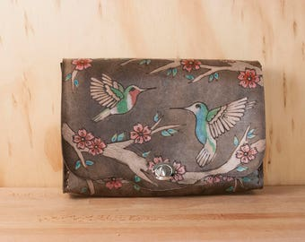 Waist Bag - Leather Convertible Clutch in the May Pattern with Hummingbirds and cherry blossoms - Clutch, Bum Bag, Crossbody or Wristlet