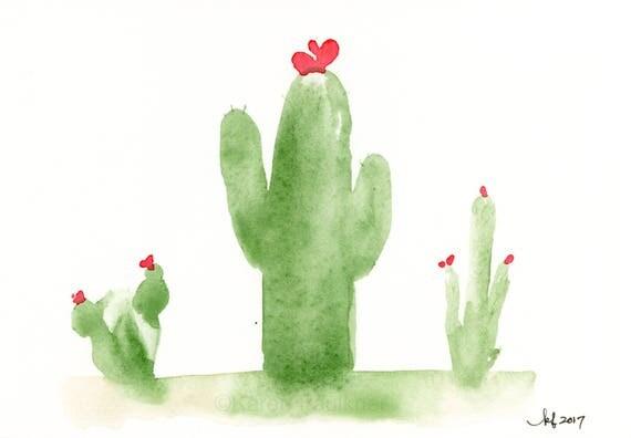 """Original watercolor cactus painting """"Tres Amigos"""""""