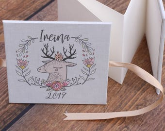 Deer Christmas Ornament, 3x3 mini accordion, Forest Friends, Reindeer antler wreath ornament, nontraditional neutral christmas tree decor