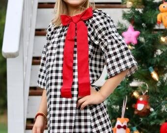 Girls Holiday Dress -  Girls Christmas Dress - Buffalo Plaid Dress -  Girls Holiday Outfit - Girls Christmas Outfit- Baby Christmas Dress