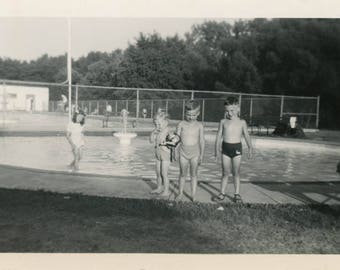 Vintage photo 1946 Children Bathing Suits Summer Wading Pool Boys & Girl