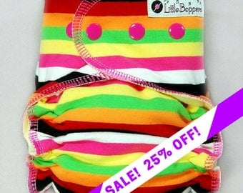 SALE! Custom Cloth Diaper or Cover - Electric Mimosa Stripes - You Pick Size and Style - Made to Order Nappy or Wrap - Pink Yellow Orange...