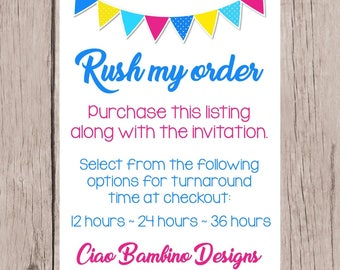 RUSH Order Fee / Purchase this listing with any Printable Invitation in my shop / You Choose Turnaround Time: 12, 24 or 36 Hour for Proof