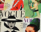 Vogue Magazine, Magazine Covers, Audrey Hepburn, Fashion Icons, printed Cotton fabric, Models, Portraits, popart