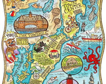 """Narragansett Rhode Island Map Art Print 8""""x 10"""""""