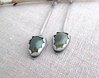 modern arrow earrings - agate stone, sterling & copper - long dangle with post