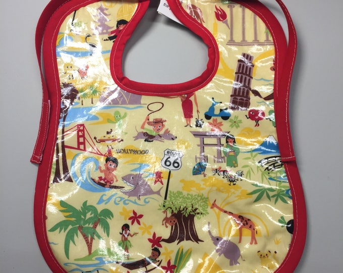 Wipeable Baby Bibs - World Traveler