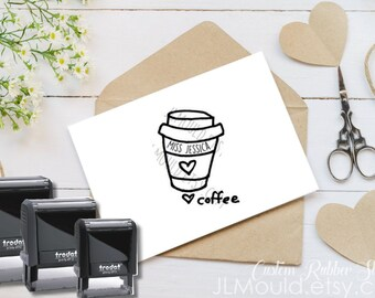 0408 Self Inking Red Rubber Stamp by JLMould Personalized with your Information Coffee Tea Coffee Lovers Starbucks and more!