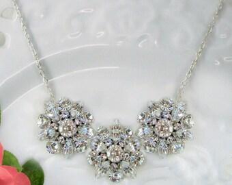 Wedding Necklace, Bridal  Statement Necklace, Crystal Silver Necklace, Wedding Jewelry, Bridal Jewelry, Vintage Rose Collection