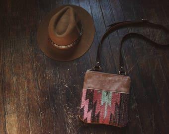 Leather Crossbody, Kilim Bag, Small Boho Purse, Ethnic Bag, Small Leather Purse, Small Crossbody, Boho Day Bag, Small Day Bag