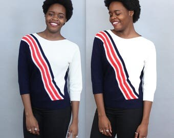 80s Knit Transparent Sweater in Navy Red White Stripes . High Fashion New York City Nautical . Fitted Small Medium Color Block