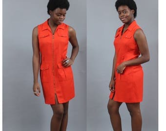 1970's Burnt Orange Mod Mini Dress with Pockets and Collar in Size Medium or Large Scooter Girl Minidress Micro Red Rust Metal Zipper 60s