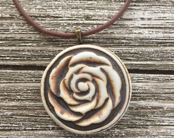 Rustic Rose Porcelain Pendant 2