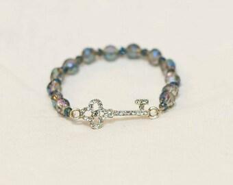 Key charm, key bracelet, elegant stack jewelry, stack bracelet, stacked bracelet, key jewelry, beaded bracelet, boho jewelry, boho bracelet