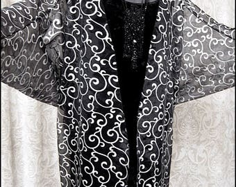 Art Nouveau Arabesque - Sheer Black and Silver Batwing Sleeved Cocoon Jacket Kimono Robe by Kambriel - Brand New & Ready to Ship!