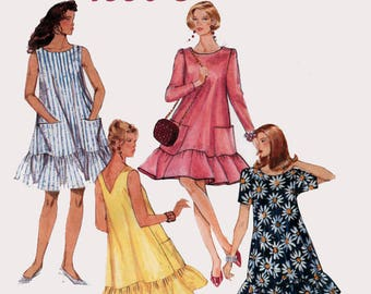 Vintage 1990s Womens Summer Tent Dress with Pockets Sewing Pattern McCalls 5978 90s Sewing Pattern Size 10-12 Bust 32.5-34 UNCUT