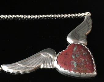 Winged Heart Pendant, Flying Heart, Cuprite and Sterling Silver, Red gemstone