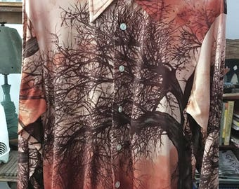 MOD Men's Shirt Vintage 70s Schradzki's Enro Size L Knit Shirt