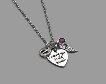 Baby Loss Necklace, Baby Memorial Necklace, Baby Charm, Baby Feet, Angel Wing, In Memory, Baby Memorial Charm, I Carry You In My Heart