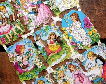 German Scraps - Fairy Tales, Nursery Rhymes - Die Cuts, Cut Outs, Reproduction, Vintage Style, Vintage Inspired, Fairy Tales, Paper Ephemera