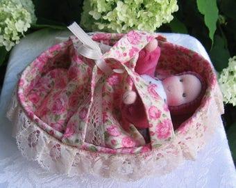 Waldorf Dolls,Waldorf Bunting Doll, Waldorf Gnome,Small Doll, Pocket Dolls, Soft Doll Bed,Gift for Child, Handmade Toys,Doll Cradle