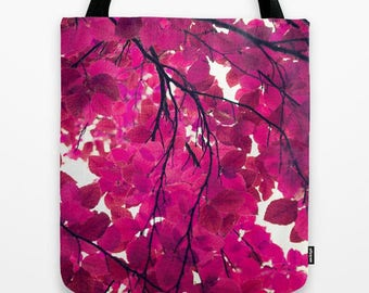 hot pink nature photo fabric tote bag-trees and leaves-nature lover gift idea for Christmas- affordable gift for Christmas-cute market tote
