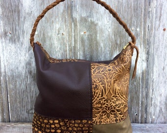 Leather Patchwork Hobo in Distressed and Embossed Leathers by Stacy Leigh