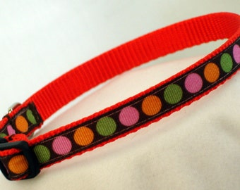 Fall Polka Dots - Small Dog Collar - 7/16 Inch Wide - Adjustable Between 8-12 Inches - Narrow - Toy - Tiny - Teacup - Puppy - READY TO SHIP