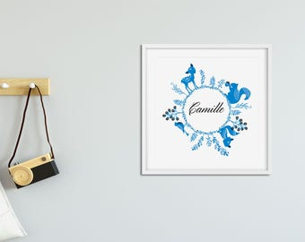 Custom poster for nursery - Woodland nursery decor - Personalized Name Baby Poster - Personalized Gift