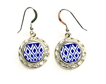 Blue Willow Broken China Jewelry Earrings, Willow Ware Transferware Silver Dangle Drop Earrings, Blue and White, Gift for Her, Geometric
