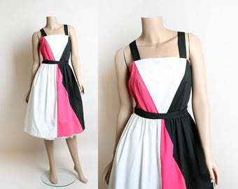 Vintage Color Block Dress - 1970s Cotton Summer Dress - Hot Pink White and Black Chevron Panel Dress - Pockets - Colorblock - Medium