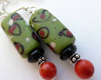 RARE Vintage Venetian Green Red White African Trade Beads Coral Onyx Sterling Silver Dangle Earrings Tribal Boho Green Black Red  Dangles