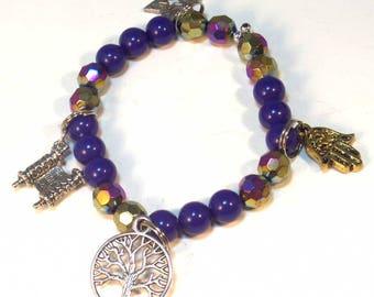Jewish Star Bracelet - Blue Gold Torah Charm Bracelet -Tree of Life - Chai Bracelet - Gift for Her