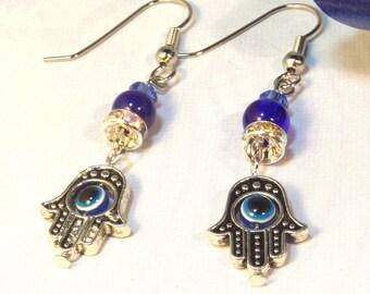 Hamsa Earrings, Hamsa Hand Earrings, Hamsa Evil Eye Earrings, Hamsa Jewelry, Hand Charm Earrings, Gifts for Her, Hanukkah
